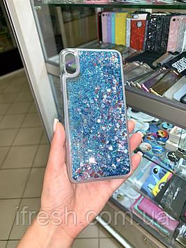 Чехол силиконовый с переливающимися блестками для iPhone X/XS, голубой
