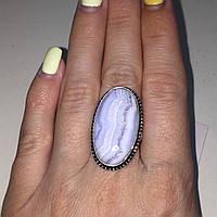 Кольцо с натуральным голубым агатом сапфирином в серебре. Кольцо овал с сапфирином. Размер 17,5-18 Индия, фото 1