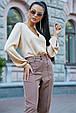 Стильная женская блуза 3591 кофе (M-2XL), фото 3
