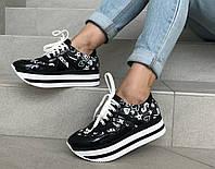 Кроссовки для девочки на платформе черные Palaris 36, 37, 38(р)