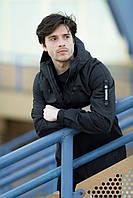 """Стильная молодежная мужская непромокаемая куртка-парка """"Traveler""""  черная"""