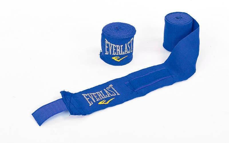 Бинт боксерский синий хлопок с эластаном Everlast  3 мп