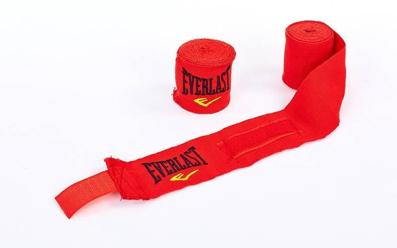 Бинт боксерский красный  хлопок с эластаном Everlast  3 мп