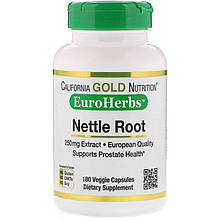 "Экстракт корня крапивы California GOLD Nutrition, EuroHerbs ""Nettle Root Extract"" 250 мг (180 капсул)"