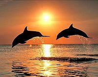 Алмазная живопись Пара дельфинов на закате 40 х 30 см (арт. FS886) вышивка стразами