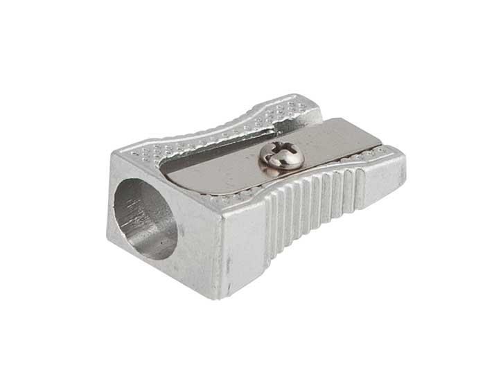 Чинка металева, клиноподібна, срібло 24шт в упак. /20/480/