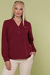 Свободная блузка с карманами на груди большие размеры Жанна-Б д/р бордовая