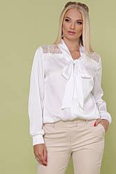 Женская белая шелковая блузка с бантом и кружевными вставками большие размеры Роксана-Б д/р