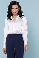 Классическая белая шелковая блузка с длинным рукавом блуза Эльвира-2 д/р