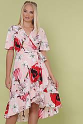 Цветастое платье на запах с воланами большие размеры Алесия-Б к/р розовое