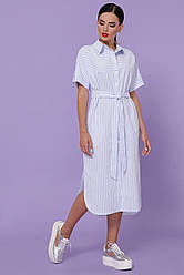 Стильное летнее платье-рубашка миди длины с разрезами по бокам Дарья-3 к/р голубое в полоску