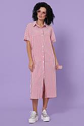 Тренлдовое летнее платье-рубашка миди с разрезами Дарья-3 к/р коралловое в полоску