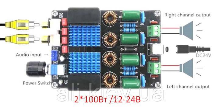 Hi-Fi Підсилювач D клас TPA3116D2 2*100 Вт стерео модуль