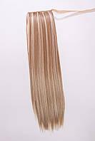 Шиньоны на ленте №3.цвет мелирование пшеничный с белым