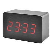 Часы настольные Wooden Clock  Черные (красная подсветка) 1295 P