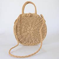 Женская круглая плетеная сумочка с ручками коричневого цвета