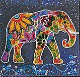 """Набір  для вишивання бісером на натуральному художньому холсті """"Індійський слон"""" 20*20 см , Abris art, фото 2"""