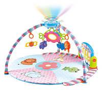 Развивающий коврик для младенца PA618 с пианино, ночником-проектором, музыка, свет, 850 мм