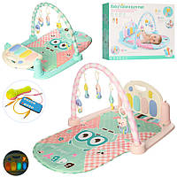 Развивающий коврик для младенца 9915В с пианино, МР3, микрофон, музыка, свет, 820*500 мм