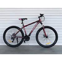 """Велосипед алюминиевый горный TopRider-901 29"""" рама 21"""", бордовый, фото 1"""
