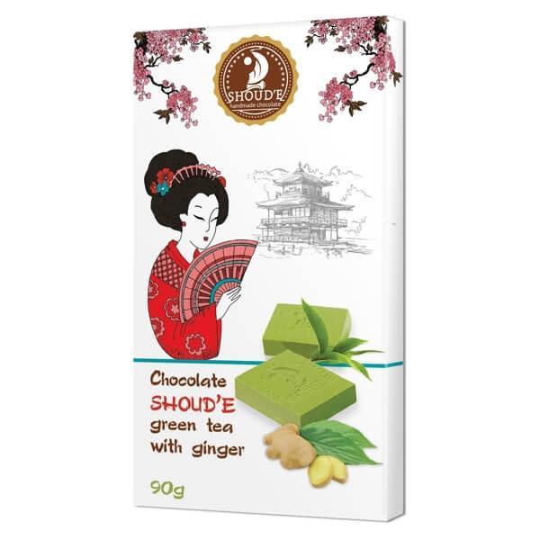 Шоколад SHOUD'E зеленый чай с имбирем, 90 грамм