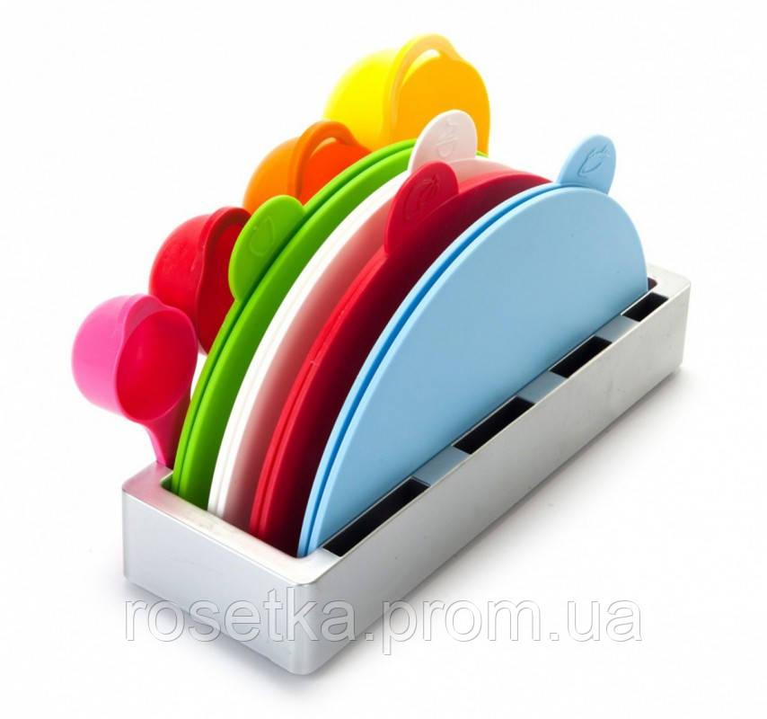 Набір складних обробних дощок з мірними ємностями і підставкою Index Chopping Board Set, всього 9 предметів