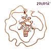 Подвеска на цепочке с улекситом и белыми фианитами (куб. цирконием), в позолоте, длина 70 см, ЗЛ00516 (1), фото 3