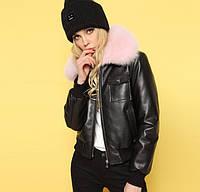 Женская куртка AFTF BASIC из экокожи черная с розовым съемным мехом S, фото 1
