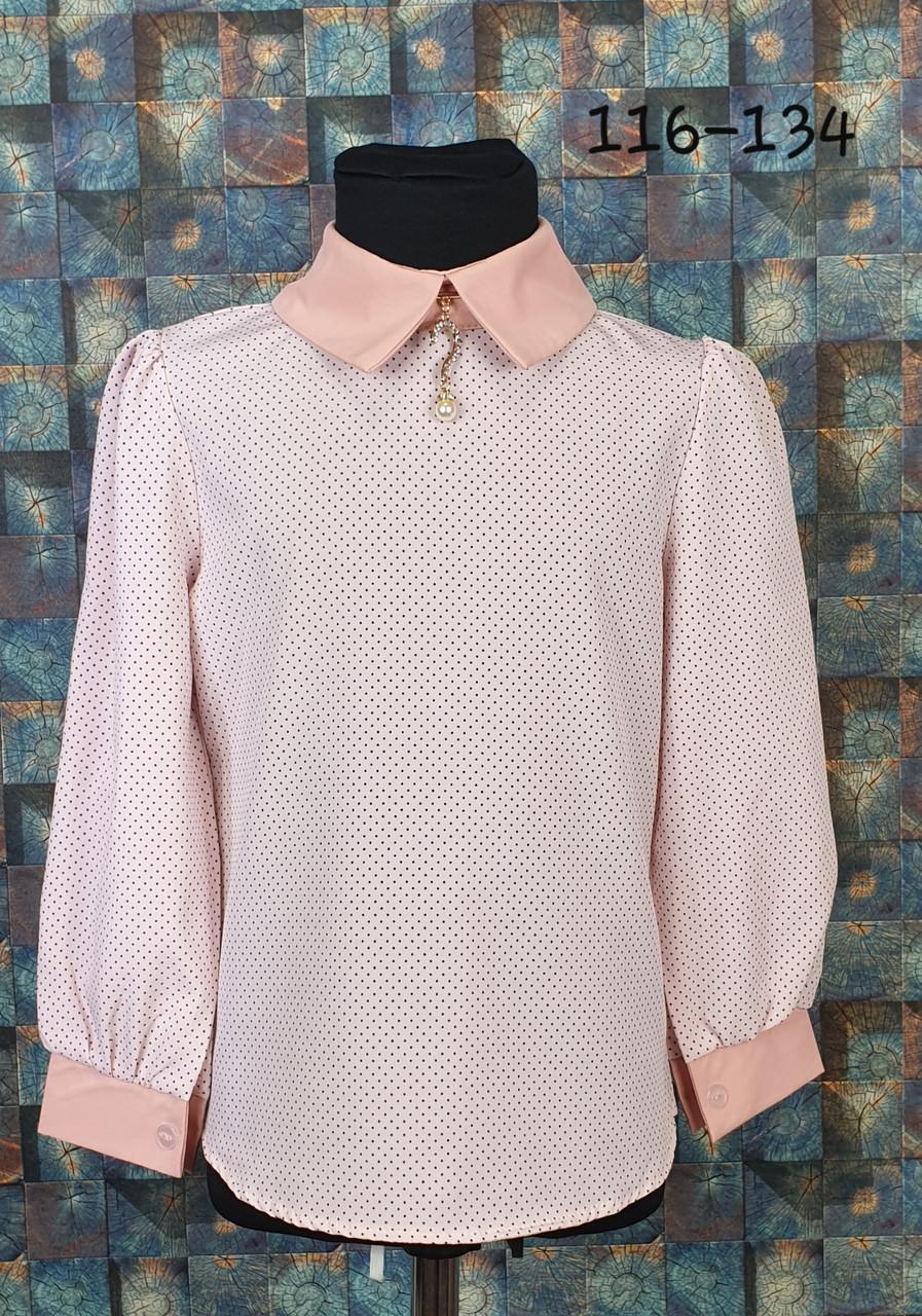 Блузка с длинным рукавом 116-134 персик
