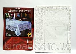 Виниловая клеенчатая скатерть ПВХ 110х140 см (белая)