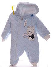 Зимний комбинезон для новорожденных Мишка голубой