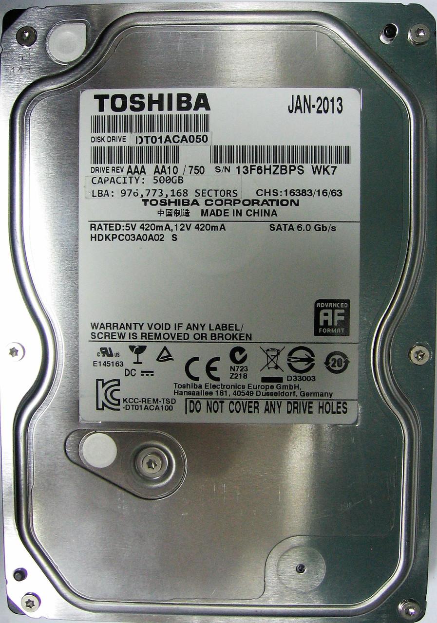 HDD 500GB 7200rpm 32MB SATA III 3.5 Toshiba DT01ACA050 13F6HZBPSWK7