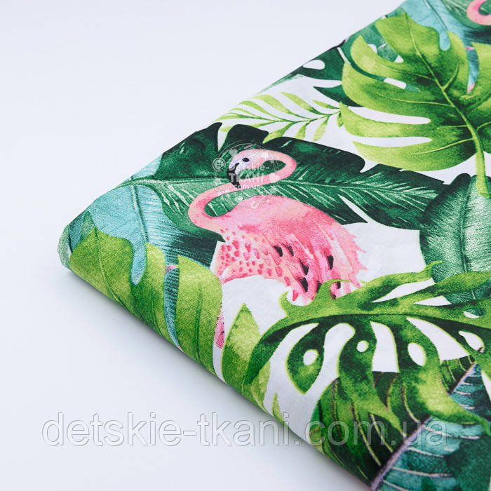 """Лоскут ткани """"Розовый фламинго и густые листья пальм"""" на белом фоне №2336а, размер 49*80 см"""