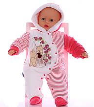 Зимний комбинезон для новорожденных Розочка красный