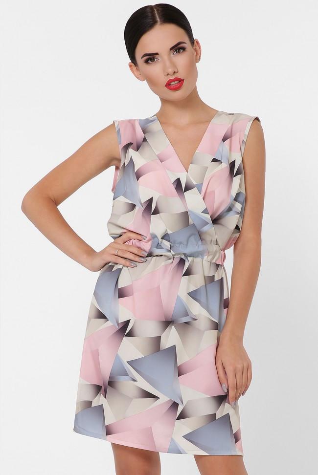 """Короткое летнее платье без рукава с резинкой на талии """"Milena"""" абстракция розовая"""