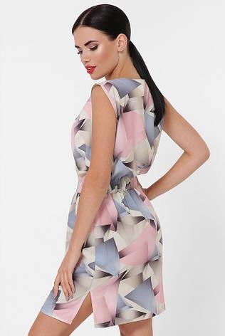 """Короткое летнее платье без рукава с резинкой на талии """"Milena"""" абстракция розовая, фото 2"""