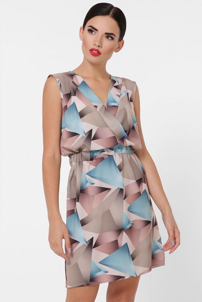 """Легкое короткое платье с резинкой на талии """"Milena"""" абстрактный принт бирьюзовый"""