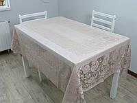 Скатерть WENESSI прозрачная 140*180 мокко, roze
