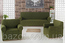 Чехол на диван и два кресла Жаккард Зеленый Milano Karna Турция 50034