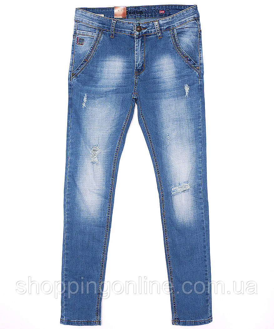 064b411973e37 2072 Crossness джинсы мужские молодежные с рванкой весенние стрейчевые  (27-34, 8 ед.)