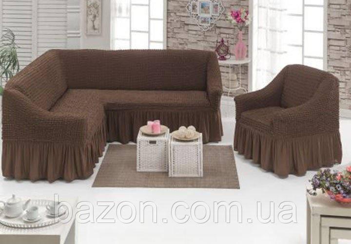 Чохол зі спідницею на кутовий диван та крісло Кавовий Evibu Туреччина 50073