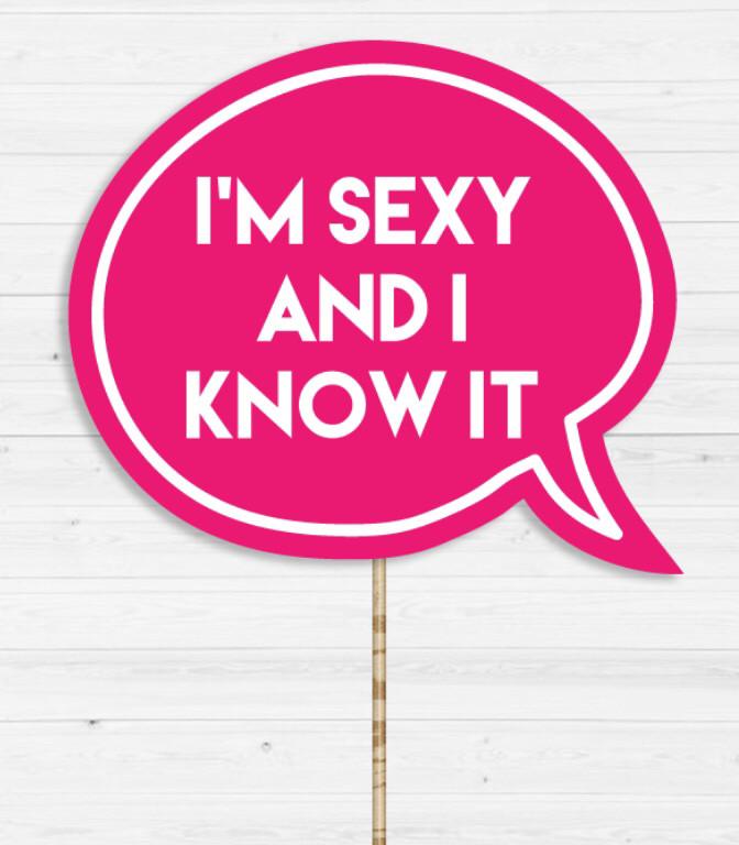 "Табличка для фотосесії ""i'm sexy and i know it"""