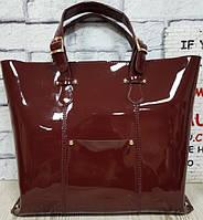Женская сумка из натуральной глянцевой кожи Винный