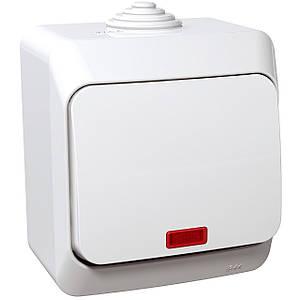 Выключатель 1-полюсный 1-клавишный с подсветкой Schneider Cedar Plus влагозащищенный IP44