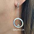 Серьги Circle родированное серебро 925 - Серебряные серьги висюльки с кругами, фото 5