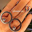 Сережки Circle родированное срібло 925 - Срібні сережки висульки з колами, фото 3