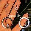 Сережки Circle родированное срібло 925 - Срібні сережки висульки з колами, фото 2