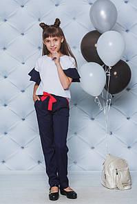 Школьный костюм с брюками для девочки синий