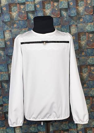 Блузка с длинным рукавом Жемчужинка 116-134 БЕЛЫЙ, фото 2