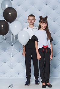 Школьный костюм с брюками для девочки черный